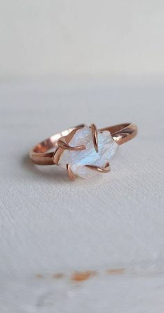 Handmade item  Materials: Gold, Rose gold, White gold  Gemstone: Diamond  Gem color: Fancy  Band color: Rose Gold  Can be personalised: Yes  Made to Order  #weddingday #weddingphotographer #ido #weddingband #jewelryaddict #ringsofinstagram #instajewelry #handmade #diamondrings #whitegold #jewelrydesign #solitairering #couplegoals #moissanite #weddings #couple #jewelrygram #customjewelry #ringoftheday #rosegold #earrings #groom #sapphire #weddingplanner #gettingmarried #moissanitering Cute Rings, Pretty Rings, Unique Rings, Beautiful Rings, Raw Stone Engagement Rings, Dream Engagement Rings, Moonstone Engagement Rings, Non Diamond Wedding Rings, Unconventional Engagement Rings