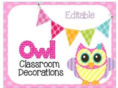 Editable Owl Themed Classroom Decorations $