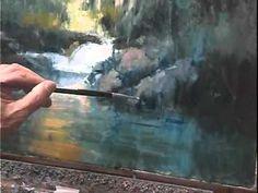 """How to paint"" waterfall reflections  Part 9/15 - Como pintar reflecciones de una cascada"