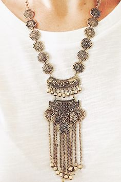 Gold Coin Medallion Statement Necklace - Michelle Money Style - $24 + free shipping from elleandk.com