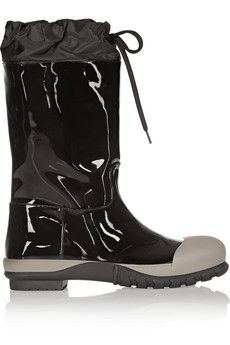 Miu Miu Shell-trimmed patent-leather boots | NET-A-PORTER