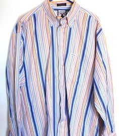 FACONNABLE Striped Button Down Shirt Cotton  long sleeve size L Large #Faconnable #ButtonFront