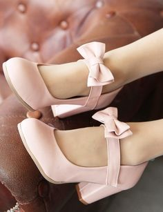 Mary Janes Pumps Heel Lolita Bowknot Shoes Pink