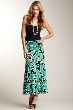 Foldover Maxi    black tank top with patterned Maxi Skirt
