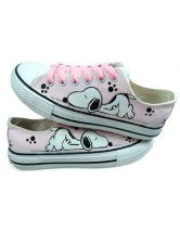 Cute Pink Hand-painted Canvas Flat Shoes For Women  $19.99
