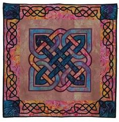 Iron on the wider pieces then pipe around those edges...Celtic Knotwork Quilt
