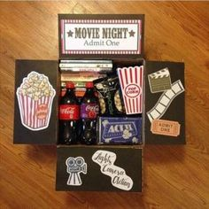 A perfect present for a movie night! A perfect present for a movie night! Birthday Present For Boyfriend, Gifts For Your Boyfriend, Boyfriend Presents, Diy Christmas Baskets, Diy Christmas Gifts, Best Birthday Surprises, Cadeau Surprise, Surprise Box, Gift Box For Men