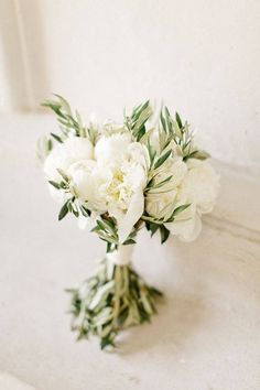 White peonies and olive leaves and branches for wedding bouquet @Haley Porteous