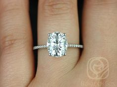Perfect. 2-3 carat. 1.4 mm band Blake 10x8mm 14kt White Gold Oval FB Moissanite and by RosadosBox