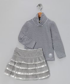 Take a look at this Navy & Gray Stripe Top & Tier Skirt - Infant & Toddler by Mikko Kids on #zulily today!