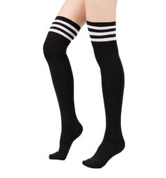 Women Triple Stripe Over the Knee High Socks (One Size : XS to M, 3Pair -White/Black/Gray) at Amazon Women's Clothing store: