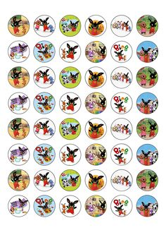 48 Bing Bunny and Flop Edible Wafer Paper Cake Toppers Decorations