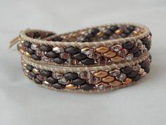 Wrapped cuoio e twin Brown-gold di SpinzMade su DaWanda.com