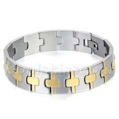 Fashion Charm Wide Cross Silver Gold Tone Stainless Steel Bracelet Chain Bangle…