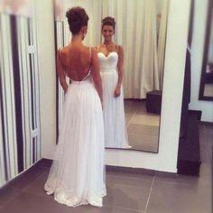 Spaghetti straps long elegant chiffon lace prom dresses,cheap wedding dresses,backless evening dresses