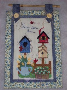 Pretty birdhouse wall hanging