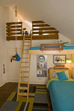 10 loft beds love this room 3 beds this is so cool its even got a pulley