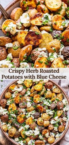 Crispy herb roasted potatoes with blue cheese is a quick and easy side dish that goes great with almost any meal! Baby potatoes are roasted in the oven until brown and crispy then tossed with fresh herbs and blue cheese crumbles. #potatoes #bluecheese #roastedpotatoes #sidedish #easyrecipes