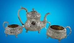 AN ENGLISH GEORGE IV REGENCY STERLING SILVER TEA SET, MASKS, BIRDS, 2,354 gr. #THOMASCOXSAVORY