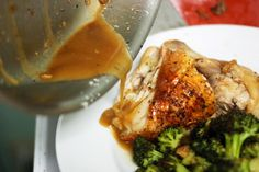 Whole Roasted Chicken with Whiskey Sauce and Roasted Broccoli by The Amateur Gourmet