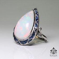ANTIQUE ART DECO PLATINUM OPAL - DIAMOND & SAPPHIRE RING