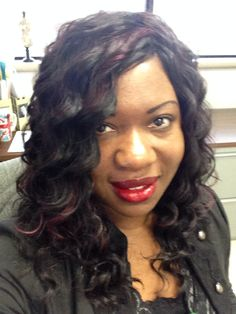 Me in burgandy and black quick weave