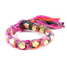 Multi Fuchsia Vintage Ribbon Large Faceted Beads Knotted Bracelet #boho #ettika #jewelry #accessories  #glam #vintage #sparkle #chic
