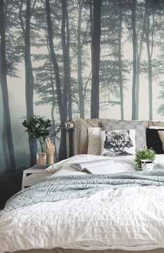 If you're into Scandi interiors, you'll love this bedroom. Soft neutrals and powder blues coordinate wonderfully with the misty forest landscape. Giving an overall dream-like feel that's perfect for bedroom spaces. Bedroom Themes, Bedroom Colors, Home Decor Bedroom, Bedroom Interiors, Bedroom Ideas, Design Bedroom, Scandi Bedroom, Bedroom Images, Decor Room