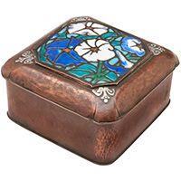 American Arts & Crafts, lidded box, circa 1920, copper, polychrome enamel, silver