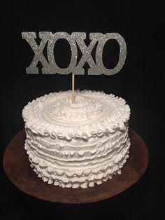 XOXO Glitter Birch Wood Cake Topper by cmorrisdesigns on Etsy
