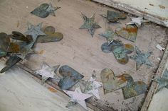 Metal rusty hearts and stars garland shabby by AnitaSperoDesign