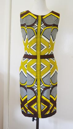 Womens African Wax Tribal Geometric Print Shift Dress
