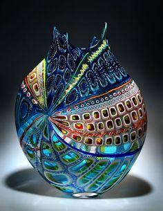 Vase – Blown Glass, designed by D. LO … Vase – Blown Glass, designed by D. Broken Glass Art, Sea Glass Art, Stained Glass Art, Glass Artwork, Glass Ceramic, Mosaic Glass, Fused Glass, Glass Vessel, Glass Beads
