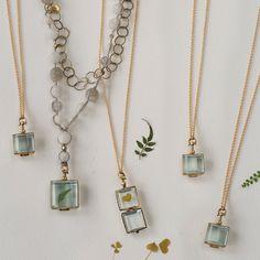 Labradorite & Glass Locket Necklace