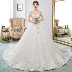 Charming Ivory See-through Wedding Dresses 2018 A-Line / Princess Scoop Neck 3/4 Sleeve Backless Beading Appliques Lace Ruffle Royal Train