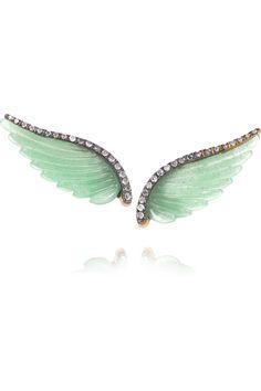 Noor Fares|Wing 18-karat gray gold, aventurine and diamond earrings|NET-A-PORTER.COM