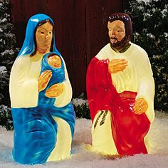 Blow Mold Nativity | Drainage Industries Outdoor 2-Piece Nativity Scene Vintage Decorations, Outside Decorations, Xmas Decorations, Christmas Past, Vintage Christmas, Christmas Ornaments, Paint Plastic, Halloween Blow Molds, Decorating With Christmas Lights