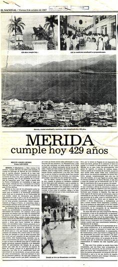 Mérida cumple hoy 429 años. Publicado el 09 de octubre de 1987.