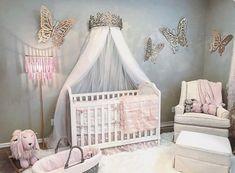 New Baby Room Decoration Ideas Girl Nursery Colors, Baby Girl Nursery Themes, Nursery Room Decor, Princess Nursery Theme, Nursery Ideas, Disney Princess Room, Girl Nurseries, Home Decor Instagram, Baby Room Design