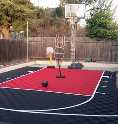 ModuTile offers backyard basketball court flooring kits with graphics, lines and multiple color tiles. Make your own custome dimentions outdoor court.