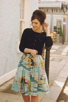 I'd like to try a fun (but thematically subdued) print on a skirt. I'm not big on the button-up cardigan though.