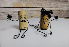 Items similar to Fun Mr. Wine Cork Couple Upcycled Handmade Drunk Wino Figurines on Etsy - Crafts - Fun Mr. Wine Cork Art, Wine Cork Crafts, Bottle Crafts, Diy Cork, Wine Cork Projects, Cork Ornaments, Snowman Ornaments, Christmas Ornaments, Wine Bottle Corks