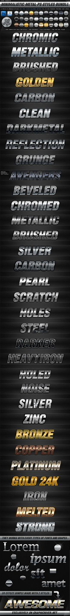 - 30 Minimalistic Metal PS Styles - GraphicRiver Item for Sale Photoshop Text Effects, Photoshop Tutorial, Photoshop Actions, Web Design, Graphic Design, Calligraphy Text, How To Clean Metal, Grunge, Layer Style