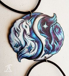 Black White Yin Yang Unicorn Fantasy horse Spiritual by TrollWorx Bff Necklaces, Couple Necklaces, Unicorn Fantasy, Unicorn Art, Wolf Jewelry, Cute Jewelry, Yin Yang Wolf, Yin Yang Tattoos, Beautiful Unicorn