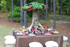 tinkerbell or fairy birthday party table