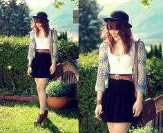 Mom's Wardrobe Vintage Crochet Cardigan, American Apparel Skirt