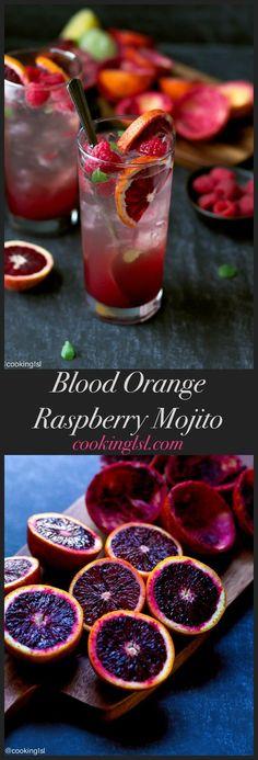 blood-orange-raspberry-mojito-recipe #cocktailrecipes