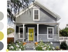 Best exterior paint colors for house gray yellow Ideas Exterior Gray Paint, Exterior Paint Colors For House, Paint Colors For Home, Exterior Doors, Exterior Design, Paint Colours, Black Exterior, Cafe Exterior, Grey Siding