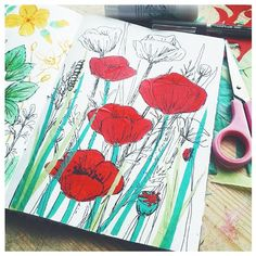 Daily sketch. Experimenting with tissue paper and pen again today. It's an interesting way to add colour to your sketches. #dailysketch, #dailyart, #illustration, #drawing, #sketchbook, #artist, #creativepractice, #wildflowers, #nature, #linework, #sketchbookexplorations, #poppies.