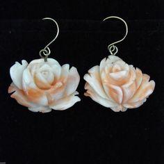 Hermoso Tallado Coral Rosas 14k Oro Amarillo De Aros Colgantes Vintage Estate